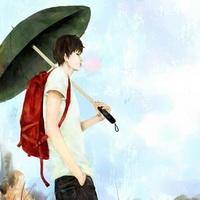 打伞伤感男生下雨打伞兄弟情头像图片10