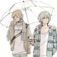 打伞伤感男生下雨打伞兄弟情头像图片26