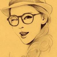 手绘素描美女